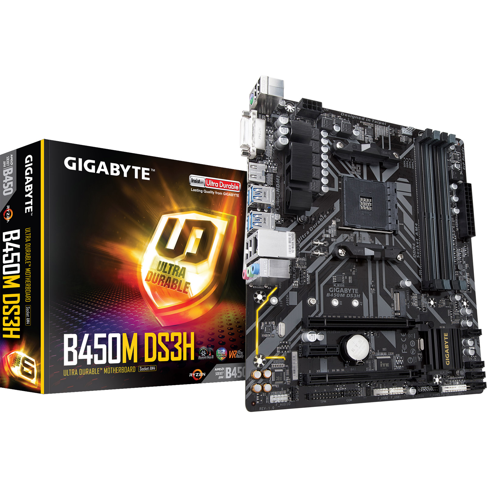 Carte mère Gigabyte B450M-DS3H Carte mère micro-ATX Socket AM4 AMD B450 - 4x DDR4 - SATA 6Gb/s + M.2 - USB 3.0 - 1x PCI-Express 3.0 16x