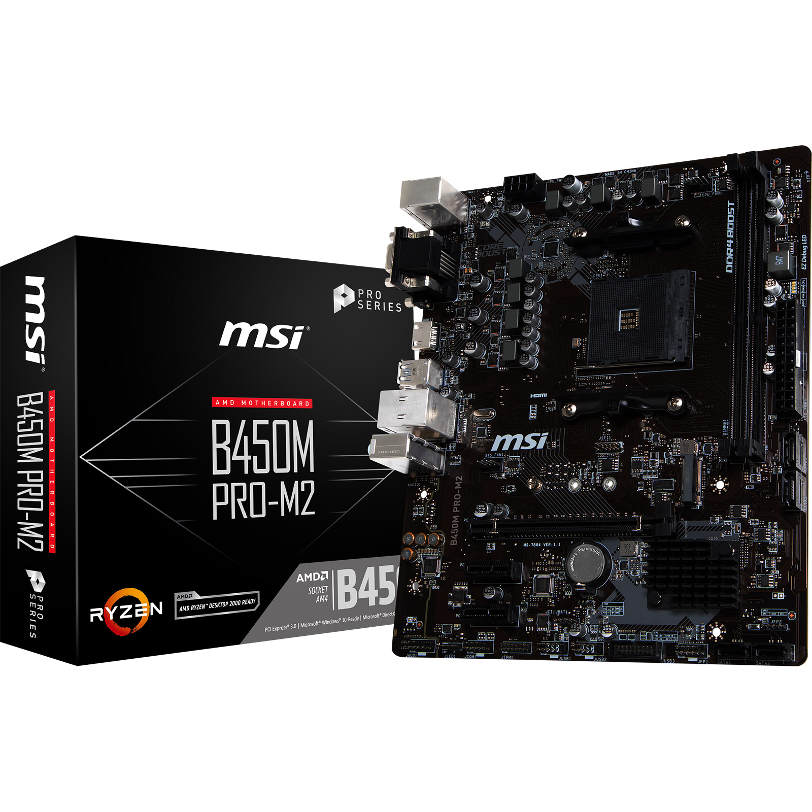 Carte mère MSI B450M PRO-M2 Carte mère Micro ATX Socket AM4 AMD B450 - 2x DDR4 - SATA 6Gb/s + M.2 - USB 3.0 - 1x PCI-Express 3.0 16x