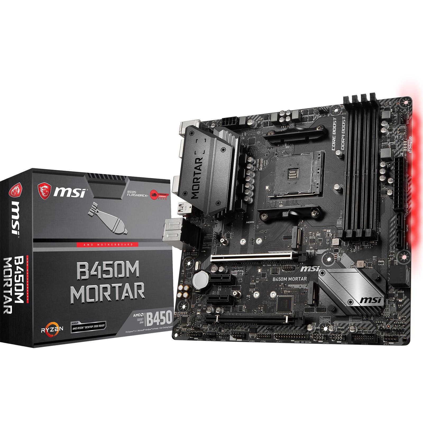Carte mère MSI B450M MORTAR Carte mère Micro ATX Socket AM4 AMD B450 - 4x DDR4 - SATA 6Gb/s + M.2 - USB 3.1 - 1x PCI-Express 3.0 16x