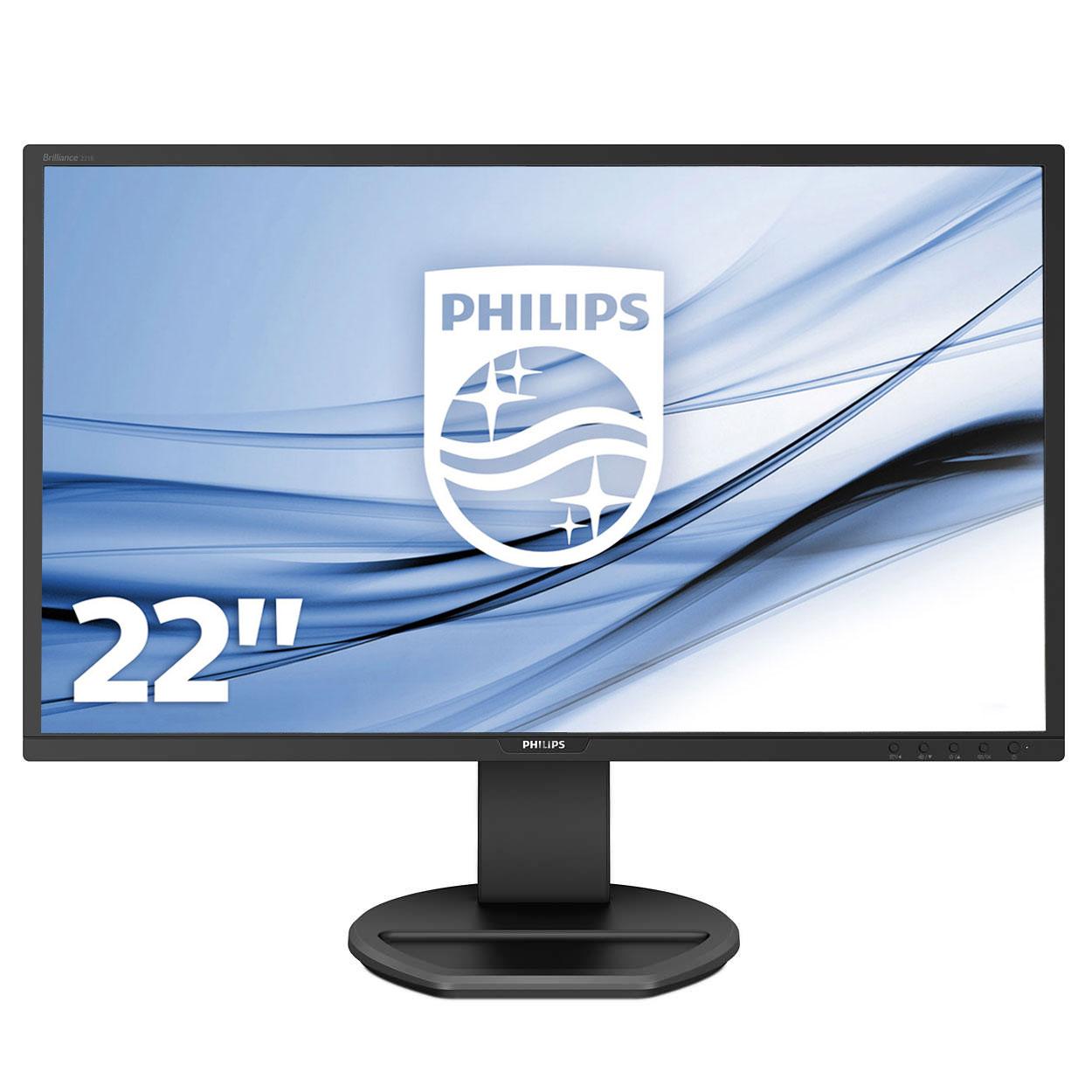 """Ecran PC Philips 21.5"""" LED - 221B8LJEB 1920 x 1080 pixels - 1 ms - Format large 16/9 - Dalle TN - Pivot - HDMI/DP/DVI/VGA - Hub USB -  Noir"""