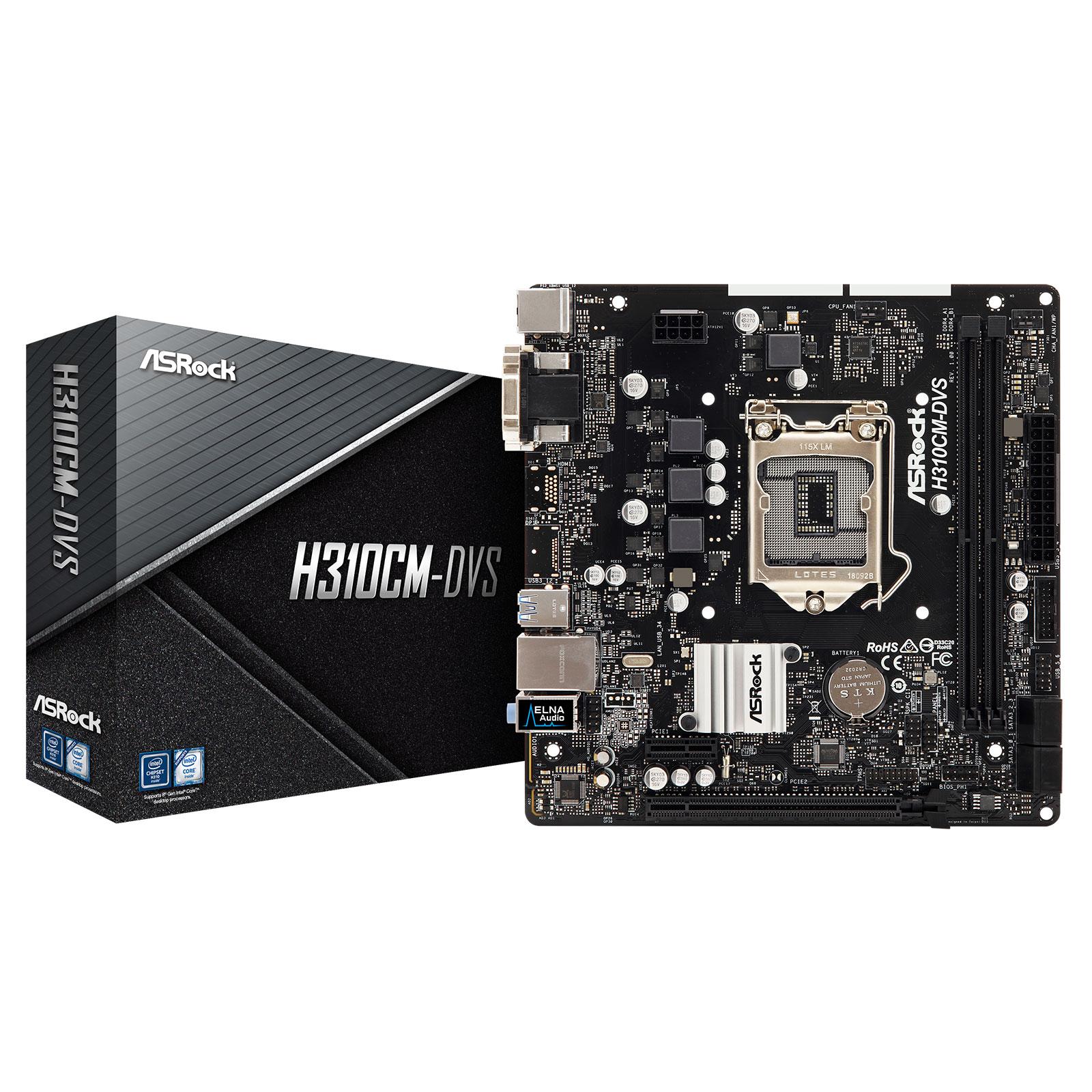 Carte mère ASRock H310CM-DVS Carte mère micro-ATX Socket 1151 Intel H310 Express - 2x DDR4 - SATA 6Gb/s - USB 3.0 - PCI-Express 3.0 16x