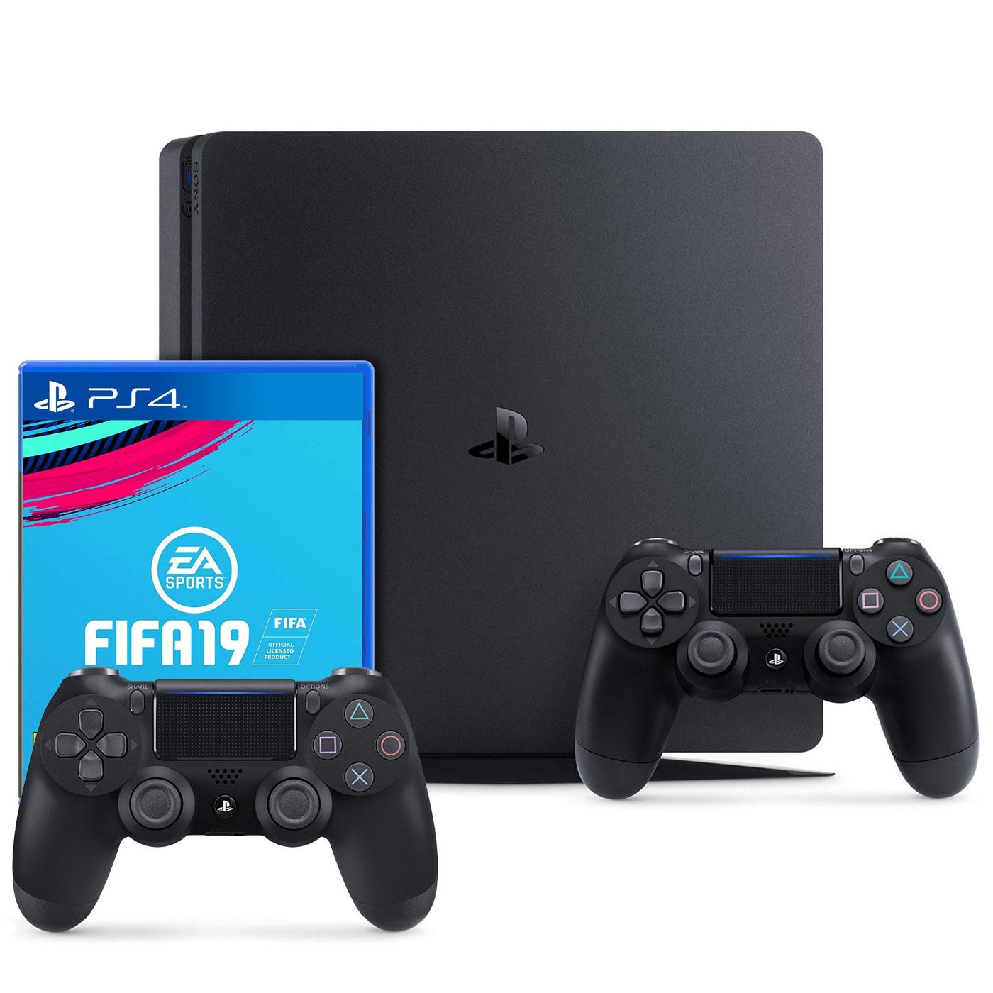Console PS4 Sony PlayStation 4 Slim (1 To) + DualShock v2 +  FIFA 19 Console de jeux-vidéo nouvelle génération avec disque dur 1 To + 2 manettes sans fil + jeu FIFA 19