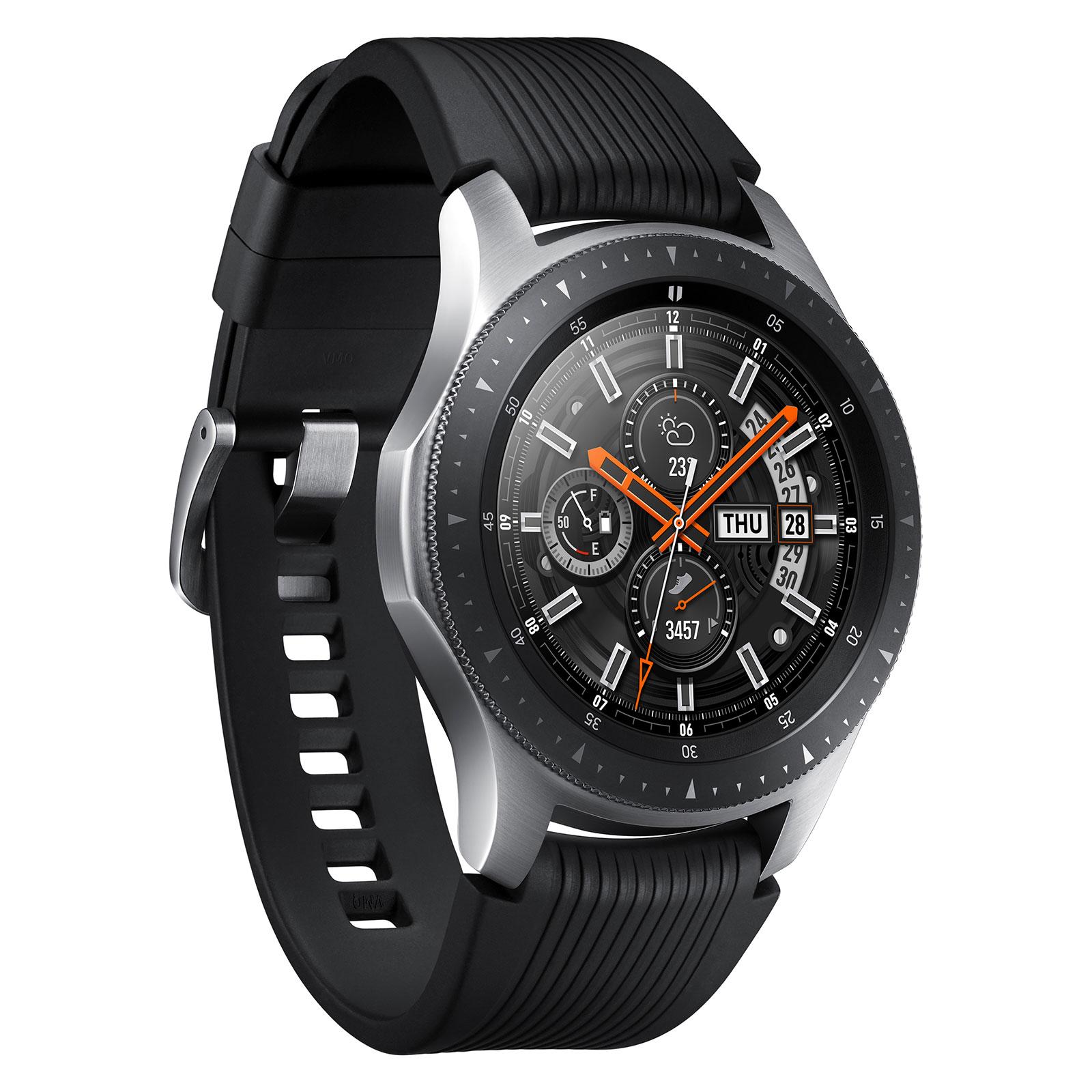"""Montre connectée Samsung Galaxy Watch Gris Acier Montre connectée certifiée IP68 avec écran Super AMOLED 1.3"""", Wi-Fi, NFC et Bluetooth 4.2 sous Tizen 4.0"""