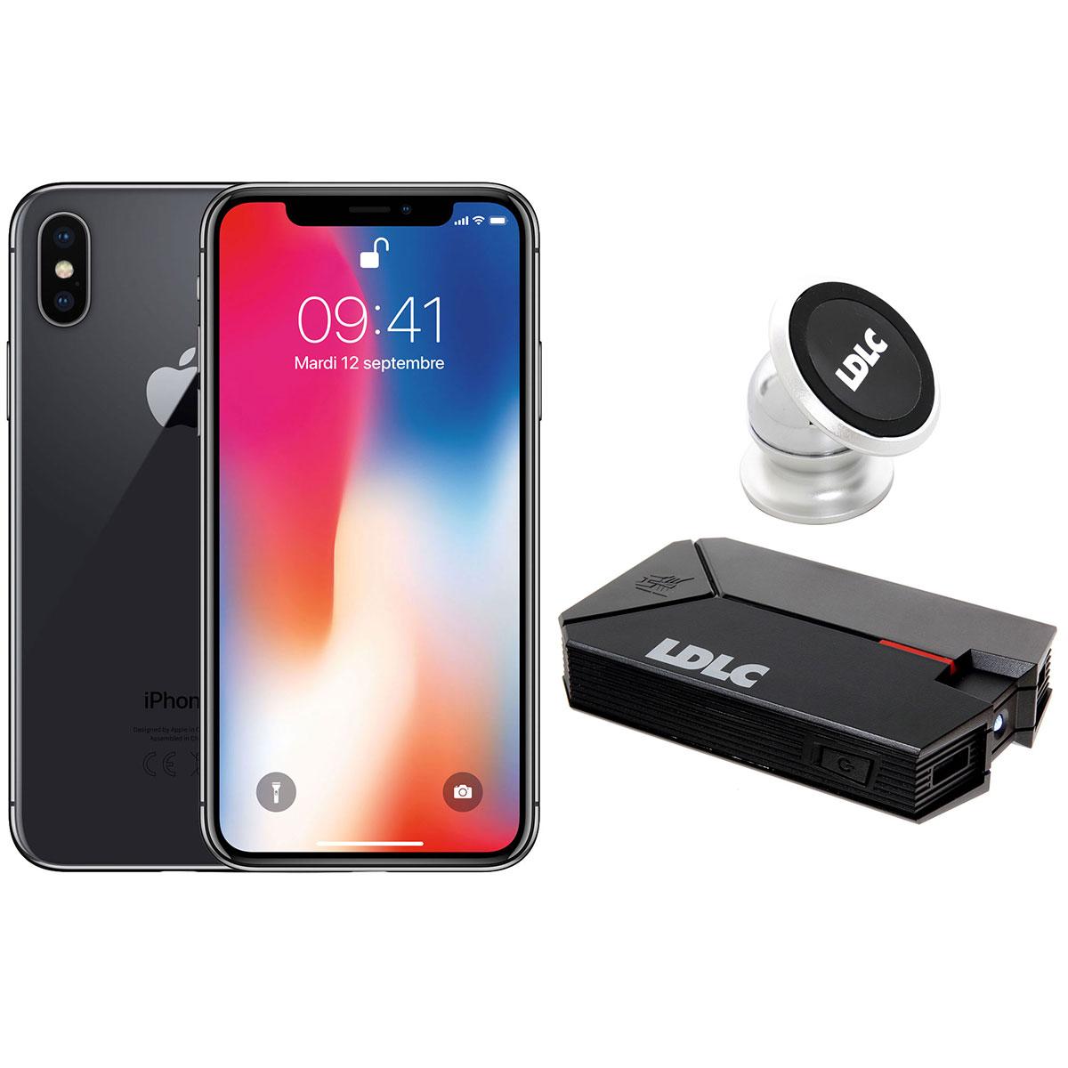 """Mobile & smartphone Apple iPhone X 256 Go Gris Sidéral + LDLC Power Bank QS10K + Auto S1 Smartphone 4G-LTE Advanced avec écran Super Retina 5.8"""" sous iOS 11 + Batterie externe 10000 mAh + Support aimanté pour voiture"""