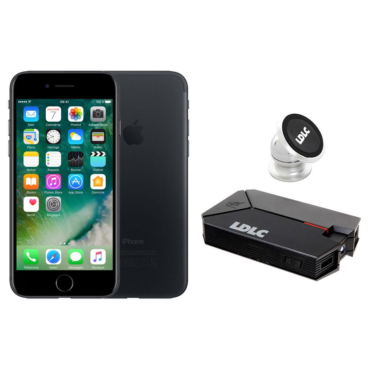 """Mobile & smartphone Apple iPhone 7 128 Go Noir + LDLC Power Bank QS10K + Auto S1 Smartphone 4G-LTE Advanced IP67 avec écran Retina 4.7"""" 750 x 1334 - 128 Go - NFC/Bluetooth 4.2 - iOS 10 + Batterie externe 10000 mAh + Support voiture aimanté"""