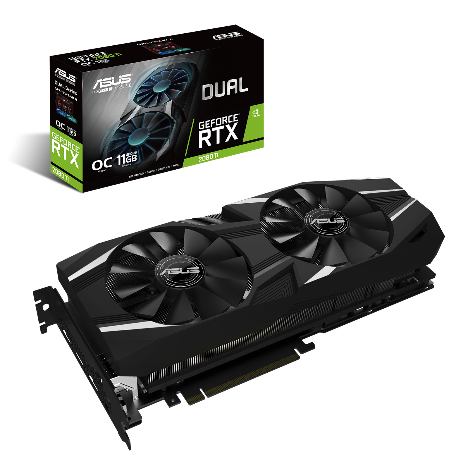 Carte graphique ASUS GeForce RTX 2080 Ti DUAL-RTX2080TI-O11G 11 Go GDDR6 - HDMI/Tri DisplayPort/USB Type-C - PCI Express (NVIDIA GeForce RTX 2080 Ti)