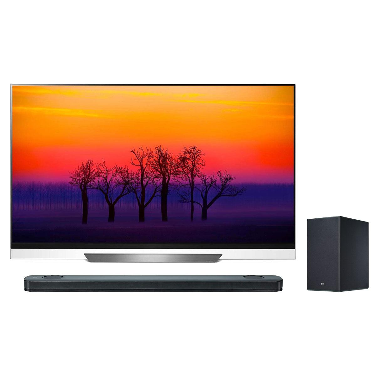 """TV LG OLED55E8 + LG SK9Y Téléviseur OLED 4K 55"""" (140 cm) 16/9 - 3840 x 2160 pixels - Ultra HD 2160p - HDR - Wi-Fi - Bluetooth - Dolby Atmos (dalle native 100 Hz) + Barre de son 5.1.2 500 W - Caisson de basses sans fil"""
