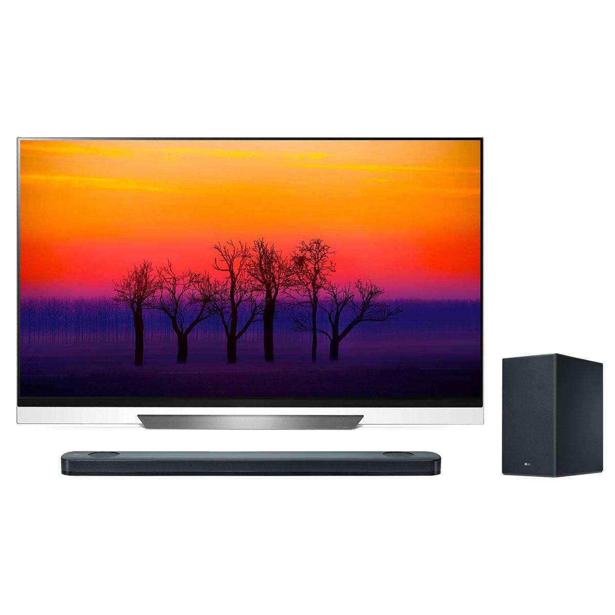 """TV LG OLED65E8 + LG SK9Y Téléviseur OLED 4K 65"""" (165 cm) 16/9 - 3840 x 2160 pixels - Ultra HD 2160p - HDR - Wi-Fi - Bluetooth - Dolby Atmos (dalle native 100 Hz) + Barre de son 5.1.2 500 W - Caisson de basses sans fil"""