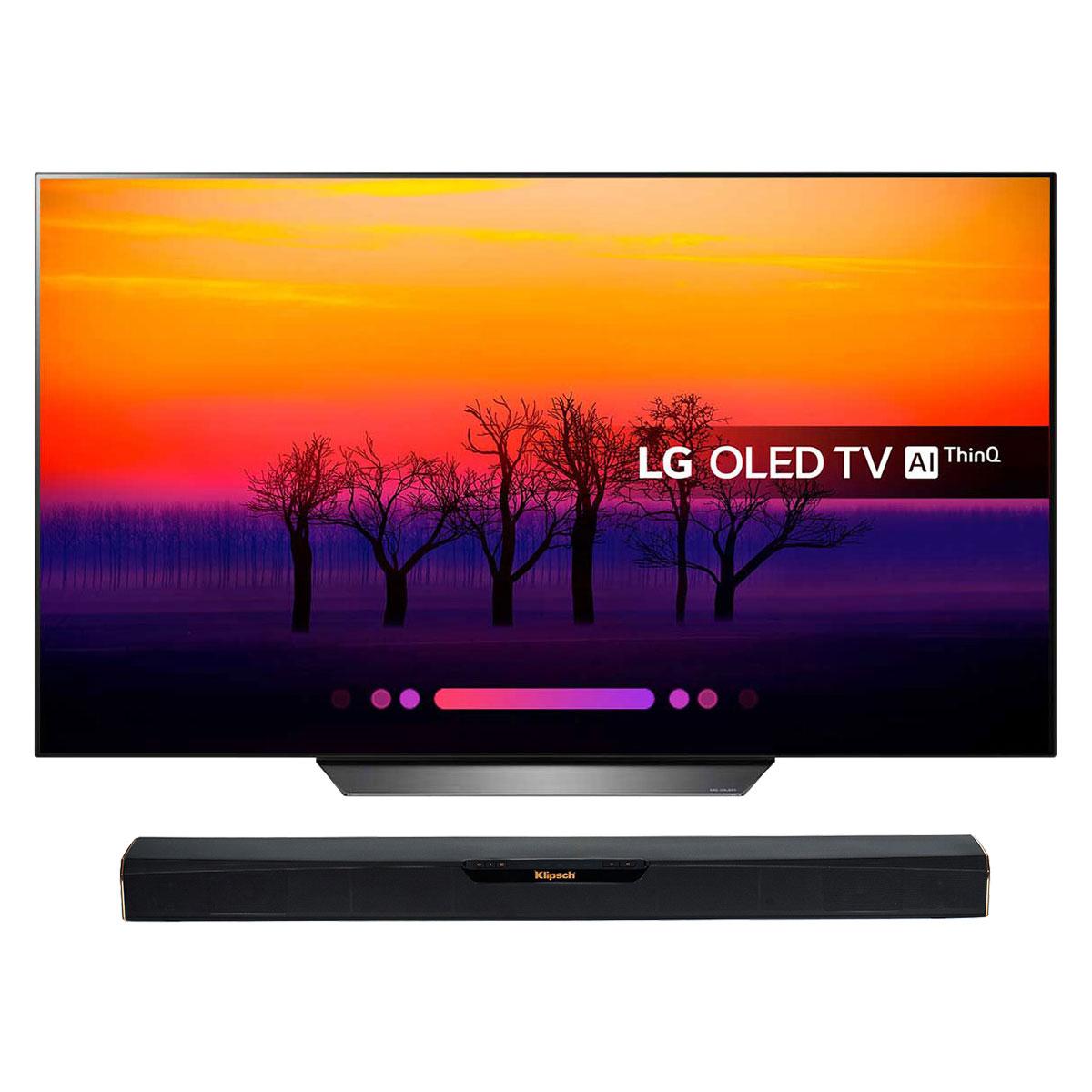 "TV LG OLED55B8 + Klipsch RSB-3 Téléviseur OLED 4K 55"" (140 cm) 16/9 - 3840 x 2160 pixels - Ultra HD 2160p - HDR - Wi-Fi - Bluetooth - Dolby Atmos + Barre de son 2.0 avec technologie Bluetooth"