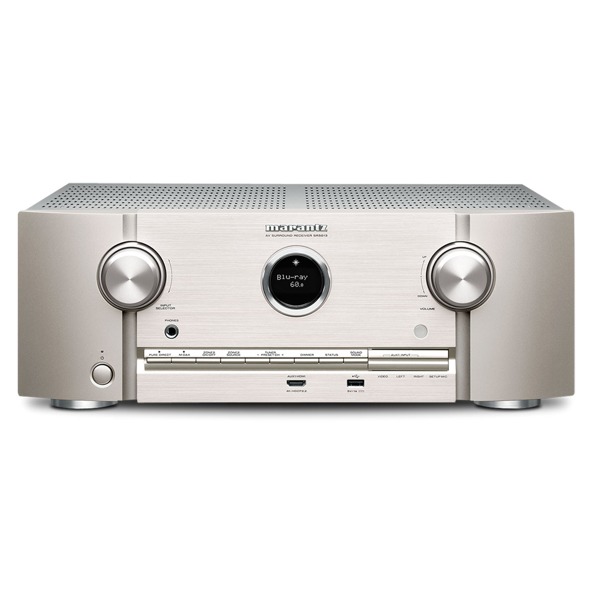 Ampli home cinéma Marantz SR5013 Argent/Or Ampli-tuner Home Cinema 7.2 - Multiroom HEOS - AirPlay 2 - Bluetooth - Wi-Fi - DTS:X - Dolby Atmos - Hi-Res Audio - 8 entrées HDMI - HDR - HDCP 2.2 - Full 4K - Compatible Amazon Alexa