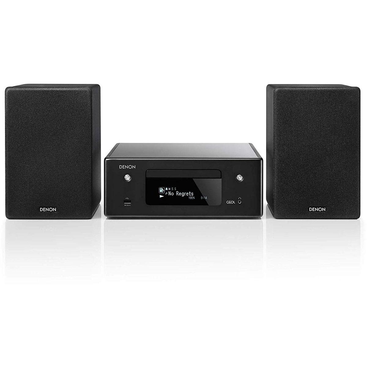 Chaîne Hifi Denon CEOL N10 Noir Micro-chaîne CD MP3 USB réseau Wi-Fi Bluetooth avec contrôle iOS, Android et Amazon Alexa