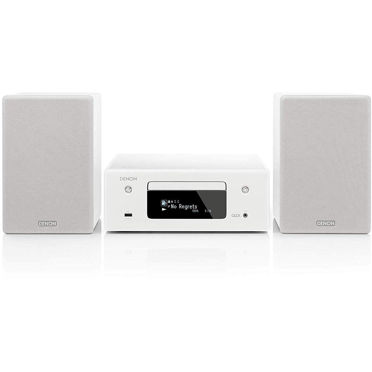 Chaîne Hifi Denon CEOL N10 Blanc Micro-chaîne CD MP3 USB réseau Wi-Fi Bluetooth avec contrôle iOS, Android et Amazon Alexa