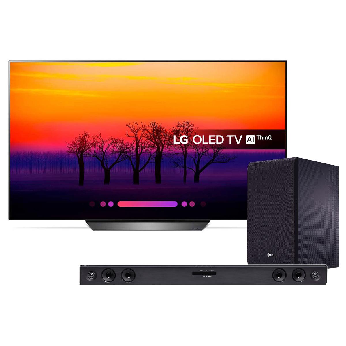 "TV LG OLED55B8 + SJ3 Téléviseur OLED 4K 55"" (140 cm) 16/9 - 3840 x 2160 pixels - Ultra HD 2160p - HDR - Wi-Fi - Bluetooth - Dolby Atmos + Barre de son 2.1 300 Watts"