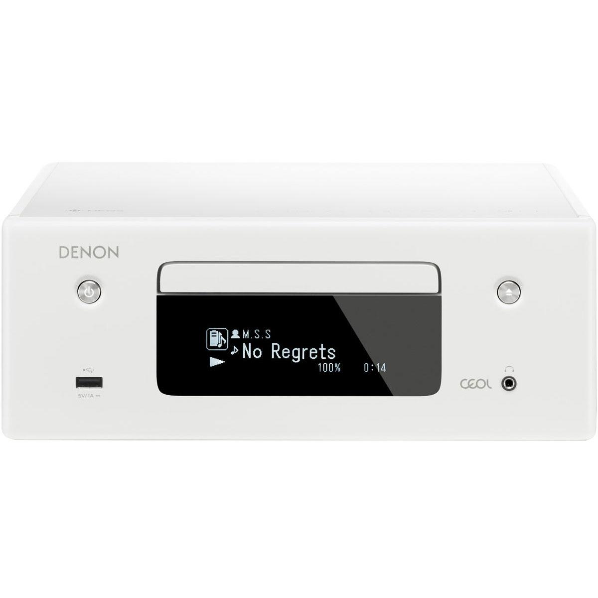Chaîne Hifi Denon CEOL N10 Blanc - Sans HP Micro-chaîne CD MP3 USB réseau Wi-Fi Bluetooth avec contrôle iOS, Android et Amazon Alexa (sans haut-parleurs)