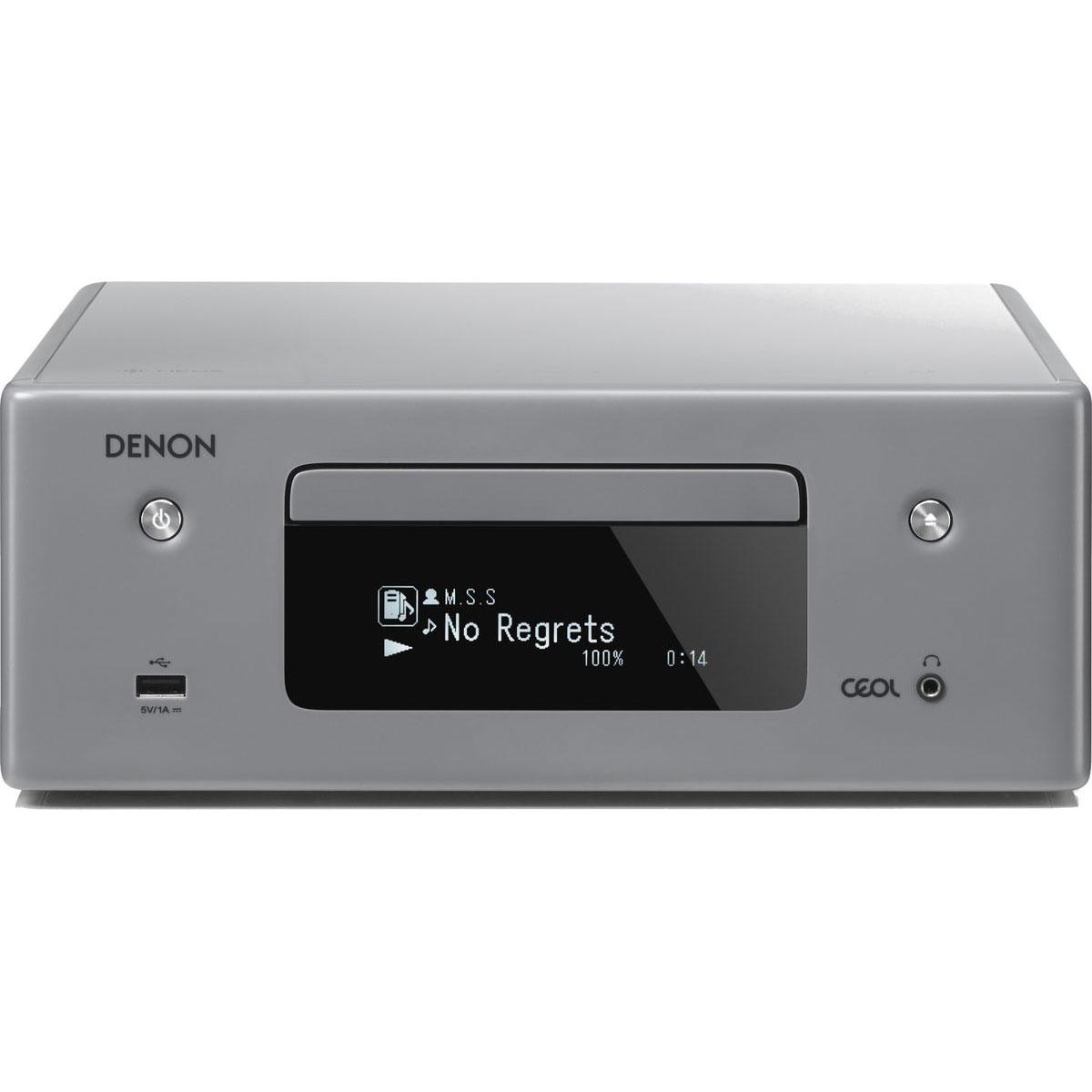 Chaîne Hifi Denon CEOL N10 Gris - Sans HP Micro-chaîne CD MP3 USB réseau Wi-Fi Bluetooth avec contrôle iOS, Android et Amazon Alexa (sans haut-parleurs)