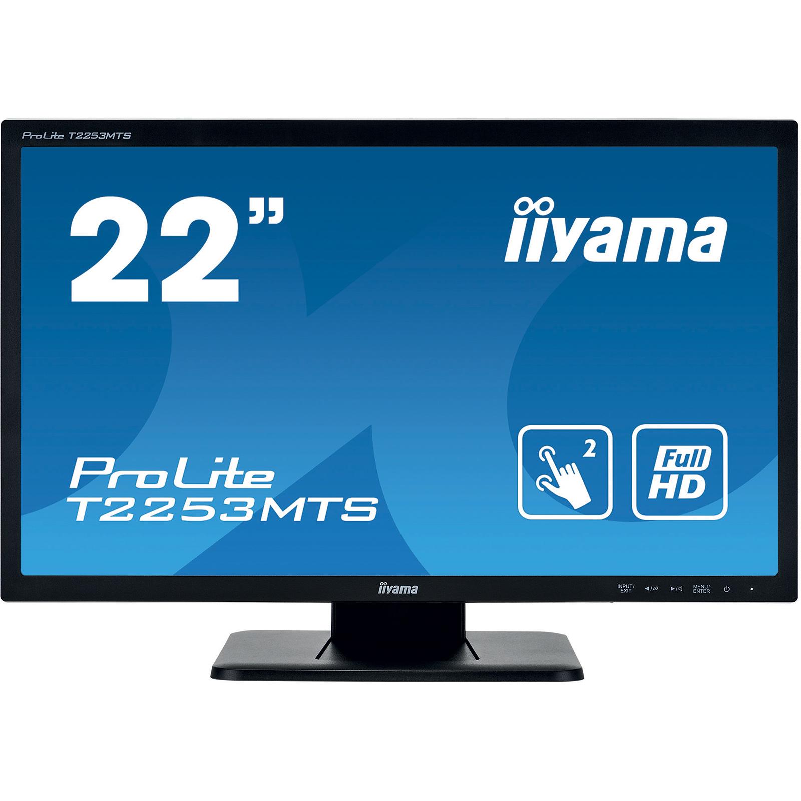 "Ecran PC iiyama 22"" LED Tactile - ProLite T2253MTS-B1 1920 x 1080 pixels - Tactile MultiTouch - Dalle TN - 2 ms - Format large 16/9 - HDMI - Hub USB - Noir"