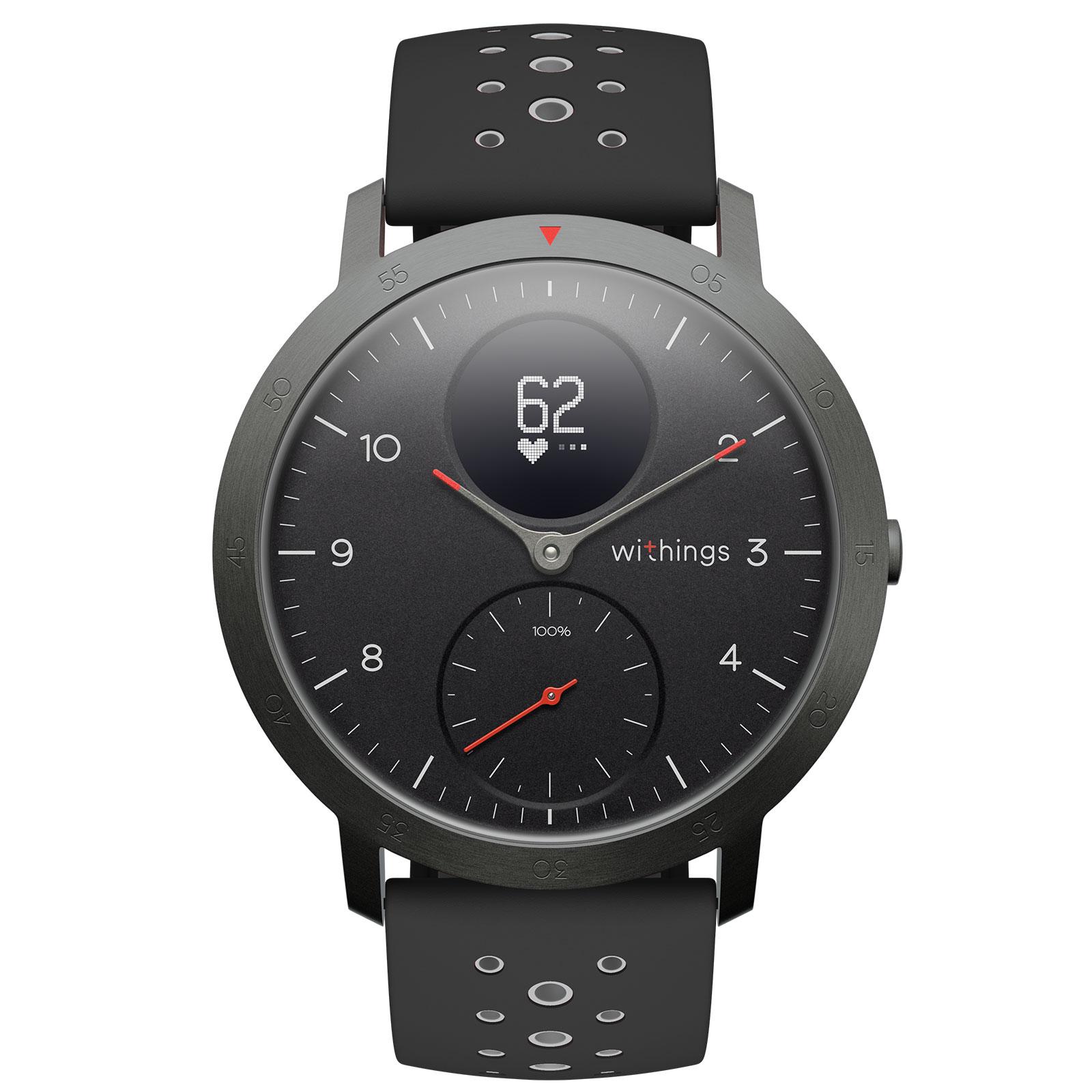 Bracelet connecté Withings Steel HR Sport Noir Montre connectée étanche avec suivi d'activité, analyse du sommeil, rythme cardiaque, notifications et Bluetooth (iOS et Android)