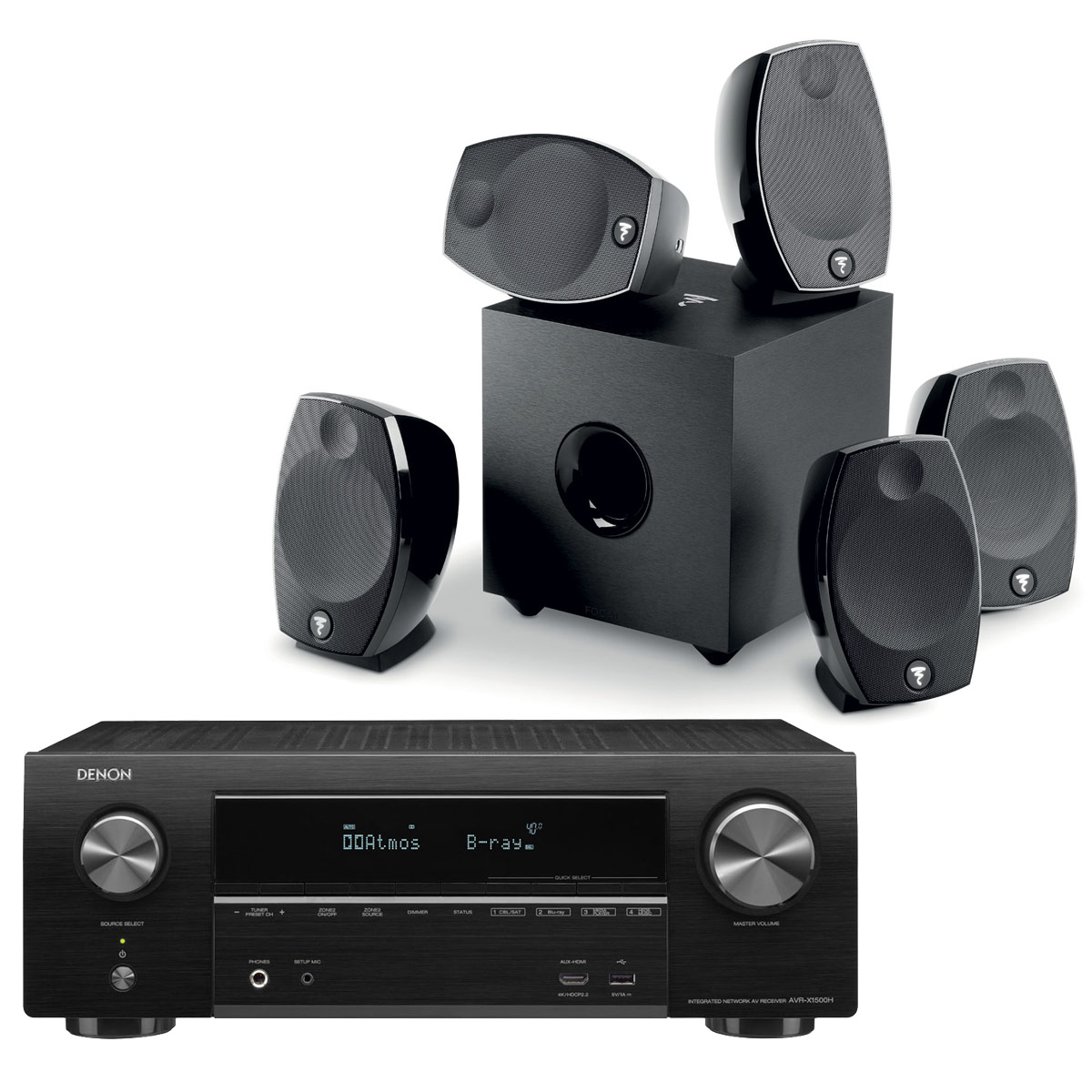 Ensemble home cinéma Denon AVR-X1500H Noir + Focal Sib Evo 5.1 Ampli-tuner Home Cinema 3D Ready 7.2 - Dolby Atmos / DTS:X - 6x HDMI 4K Ultra HD, HDCP 2.2, HDR - Wi-Fi, Bluetooth, AirPlay 2 - Multiroom - Amazon Alexa + Pack d'enceintes 5.1