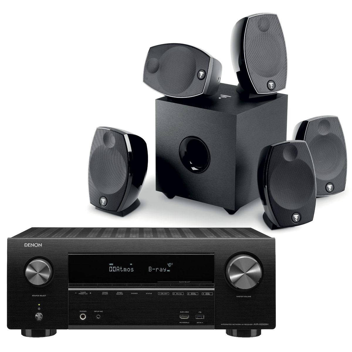 Ensemble home cinéma Denon AVR-X2500H Noir + Focal Sib Evo 5.1 Ampli-tuner Home Cinema 3D Ready 7.2 - Dolby Atmos / DTS:X - 8x HDMI 4K Ultra HD, HDCP 2.2, HDR - Wi-Fi, Bluetooth, AirPlay 2 - Multiroom - Amazon Alexa + Pack d'enceintes 5.1