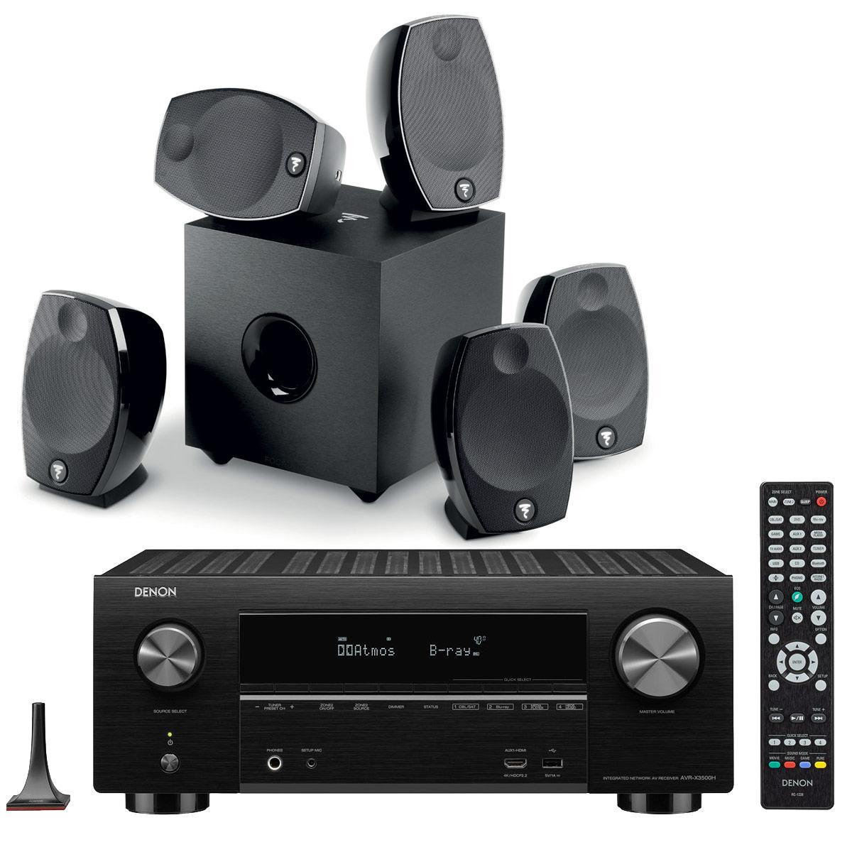 Ensemble home cinéma Denon AVR-X3500H Noir + Focal Sib Evo 5.1 Ampli-tuner Home Cinema 3D Ready 7.2 - Dolby Atmos / DTS:X - 8x HDMI 4K Ultra HD, HDCP 2.2, HDR - Wi-Fi, Bluetooth, AirPlay 2 - Multiroom - Amazon Alexa + Pack d'enceintes 5.1