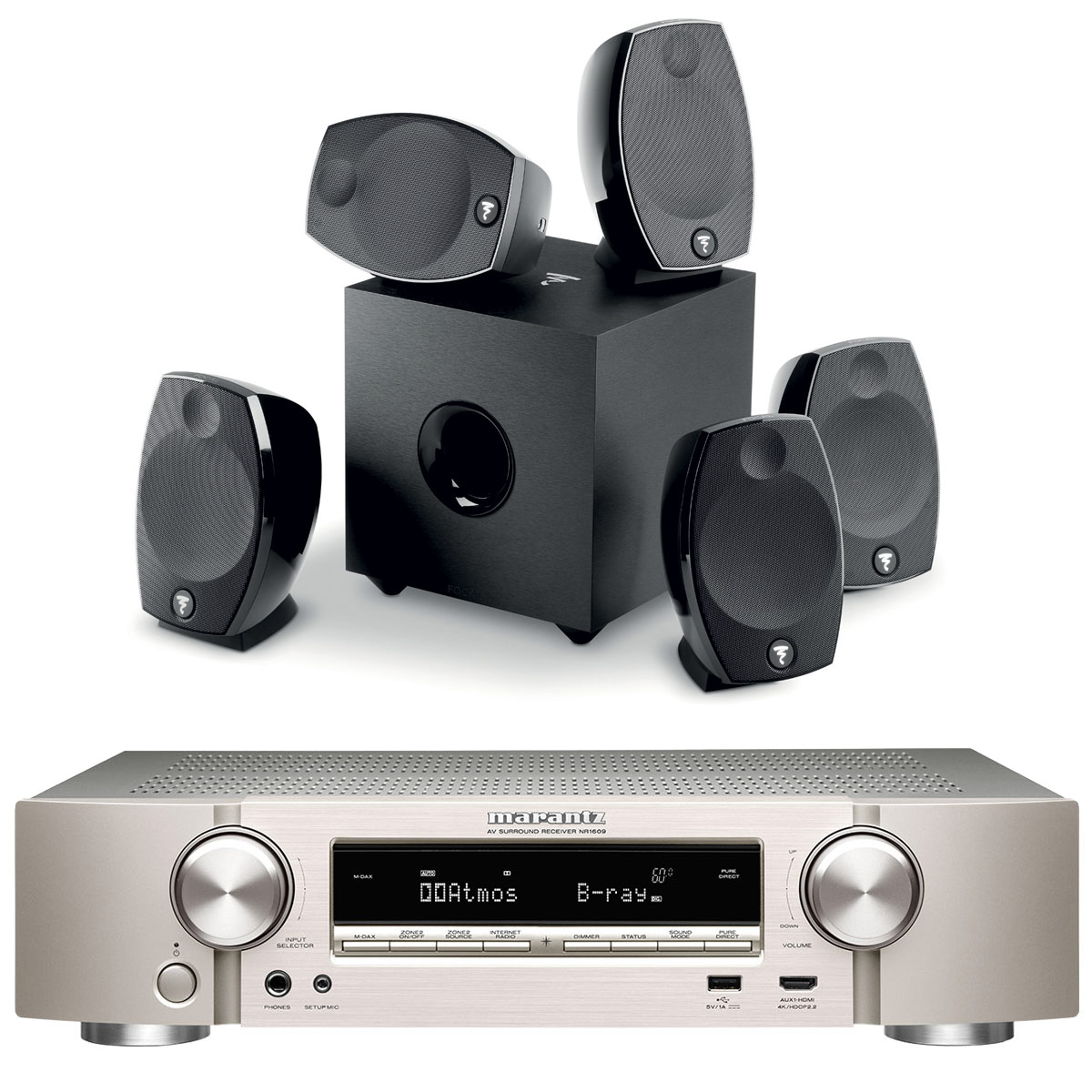 Ensemble home cinéma Marantz NR1609 Argent/Or + Focal Sib Evo 5.1 Ampli-tuner Home Cinema Slim 3D Ready 5.2 - Dolby Atmos / DTS:X - 8x HDMI 4K UHD, HDCP 2.2, HDR - Multiroom - Wi-Fi/Bluetooth/AirPlay 2 - Amazon Alexa + Pack d'enceintes 5.1