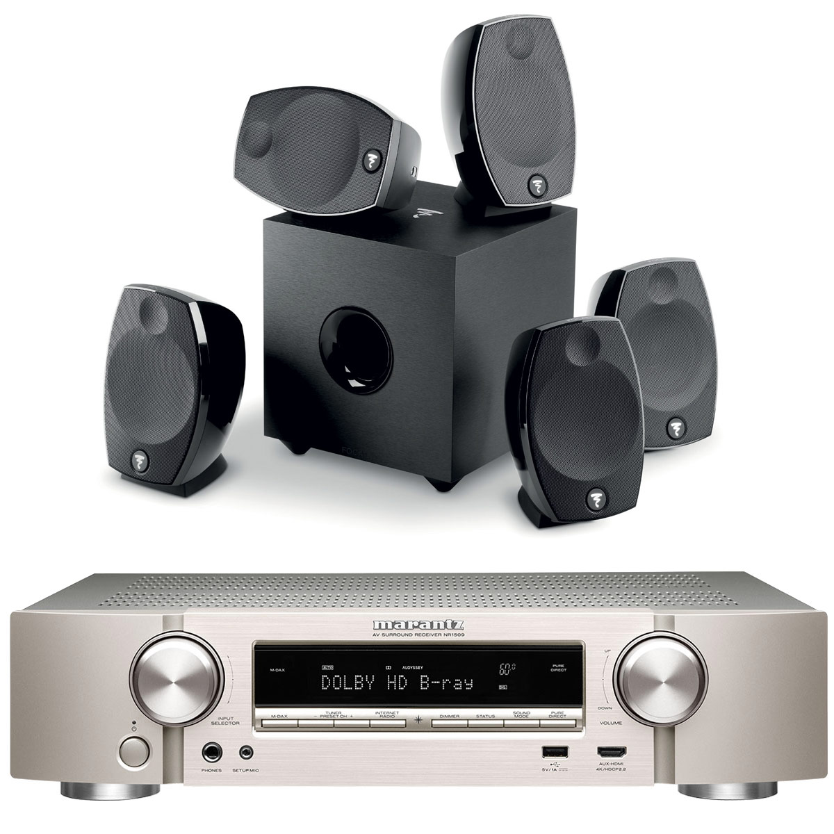 Ensemble home cinéma Marantz NR1509 Argent/Or + Focal Sib Evo 5.1 Ampli-tuner Home Cinema Slim 3D Ready 5.2 - Dolby TrueHD / DTS-HD Master Audio - 6x HDMI 4K UHD, HDCP 2.2, HDR - Multiroom - Wi-Fi/Bluetooth/AirPlay 2 - Amazon Alexa + Pack d'enceintes 5.1