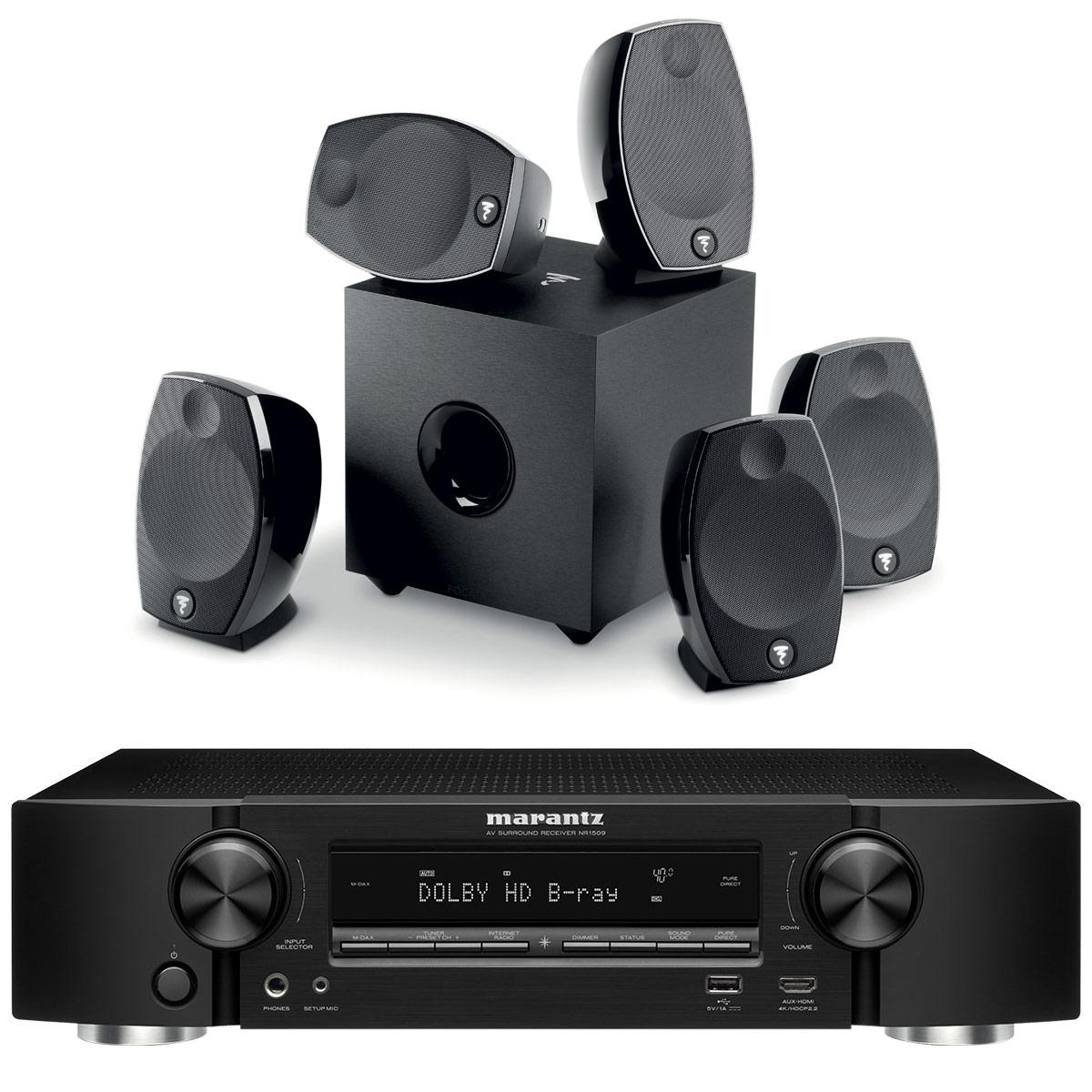Ensemble home cinéma Marantz NR1509 Noir + Focal Sib Evo 5.1 Ampli-tuner Home Cinema Slim 3D Ready 5.2 - Dolby TrueHD / DTS-HD Master Audio - 6x HDMI 4K UHD, HDCP 2.2, HDR - Multiroom - Wi-Fi/Bluetooth/AirPlay 2 - Amazon Alexa + Pack d'enceintes 5.1