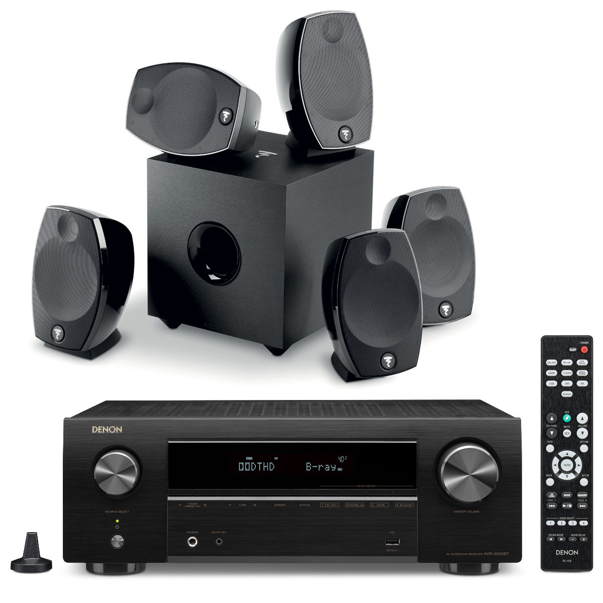 Ensemble home cinéma Denon AVR-X550BT + Focal Sib Evo 5.1 Ampli-tuner 5.2 Home Cinema 3D Ready 130 Watts - DTS-HD / Dolby True HD - 5 entrées HDMI 2.0 4K Ultra HD HDCP 2.2 - HDR / Dolby Vision / HLG - Bluetooth + Pack d'enceintes 5.1