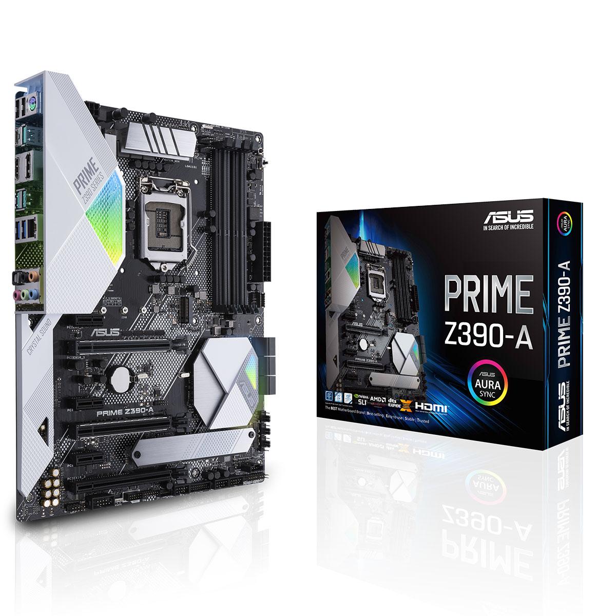 Carte mère ASUS PRIME Z390-A Carte mère ATX Socket 1151 Intel Z390 Express - 4x DDR4 - SATA 6Gb/s + M.2 - USB 3.1 - 3x PCI-Express 3.0 16x