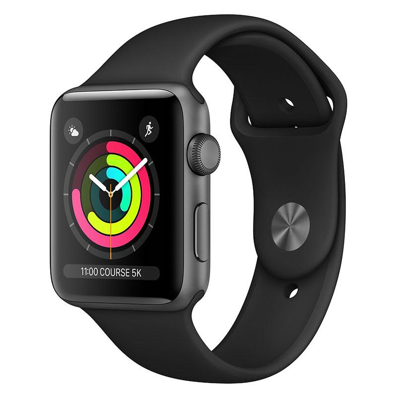 Montre connectée Apple Watch Series 3 GPS Aluminium Gris Sidéral Sport Noir 38 mm Montre connectée - Aluminium - Etanche 50 m - GPS/GLONASS - Cardiofréquencemètre - Ecran Retina OLED 340 x 272 pixels - Wi-Fi/Bluetooth 4.2 - watchOS 5 - Bracelet Sport 38 mm