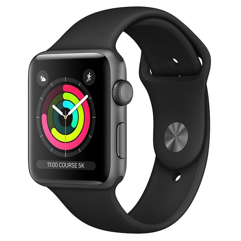 Montre connectée Apple Watch Series 3 GPS Aluminium Gris Sidéral Sport Noir 42 mm Montre connectée - Aluminium - Etanche 50 m - GPS/GLONASS - Cardiofréquencemètre - Ecran Retina OLED 390 x 312 pixels - Wi-Fi/Bluetooth 4.2 - watchOS 5 - Bracelet Sport 42 mm