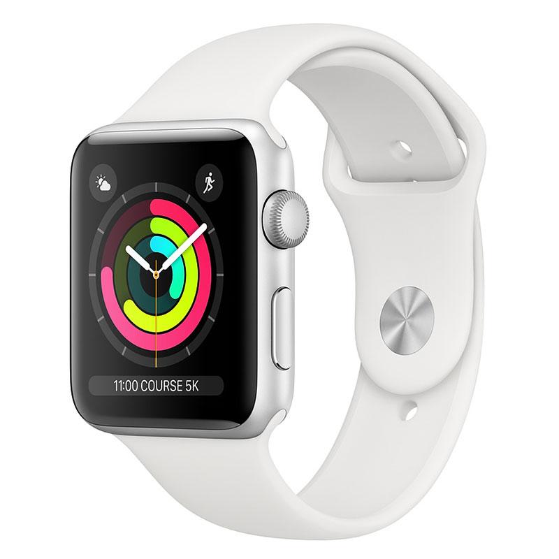 Montre connectée Apple Watch Series 3 GPS Aluminium Argent Sport Blanc 42 mm Montre connectée - Aluminium - Etanche 50 m - GPS/GLONASS - Cardiofréquencemètre - Ecran Retina OLED 390 x 312 pixels - Wi-Fi/Bluetooth 4.2 - watchOS 5 - Bracelet Sport 42 mm