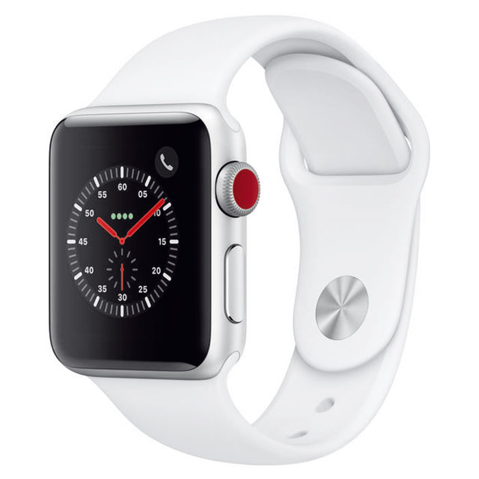 Montre connectée Apple Watch Series 3 GPS + Cellular Aluminium Argent Sport Blanc 38 mm  Montre connectée - Aluminium - Etanche 50 m - GPS/GLONASS - Cardiofréquencemètre - Ecran Retina OLED 340 x 272 pixels - Wi-Fi/Bluetooth 4.2 - watchOS 5 - Bracelet Sport 38 mm