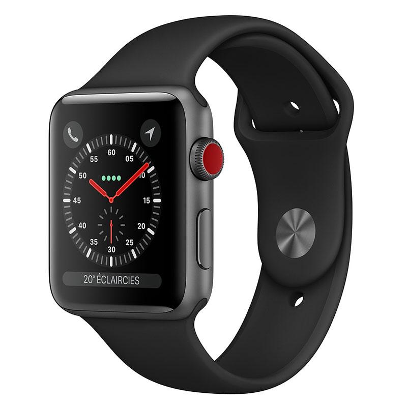 Montre connectée Apple Watch Series 3 GPS + Cellular Aluminium Gris Sidéral Sport Noir 38 mm  Montre connectée - Aluminium - Etanche 50 m - GPS/GLONASS - Cardiofréquencemètre - Ecran Retina OLED 340 x 272 pixels - Wi-Fi/Bluetooth 4.2 - watchOS 5 - Bracelet Sport 38 mm