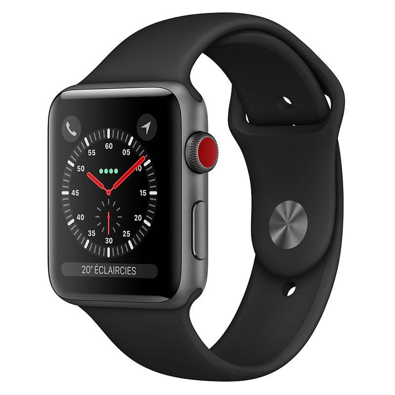 Montre connectée Apple Watch Series 3 GPS + Cellular Aluminium Gris Sidéral Sport Noir 42 mm  Montre connectée - Aluminium - Etanche 50 m - GPS/GLONASS - Cardiofréquencemètre - Ecran Retina OLED 390 x 312 pixels - Wi-Fi/Bluetooth 4.2 - watchOS 5 - Bracelet Sport 42 mm