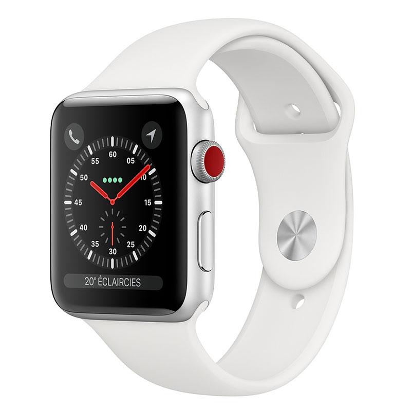 Montre connectée Apple Watch Series 3 GPS + Cellular Aluminium Argent Sport Blanc 42 mm  Montre connectée - Aluminium - Etanche 50 m - GPS/GLONASS - Cardiofréquencemètre - Ecran Retina OLED 390 x 312 pixels - Wi-Fi/Bluetooth 4.2 - watchOS 5 - Bracelet Sport 42 mm