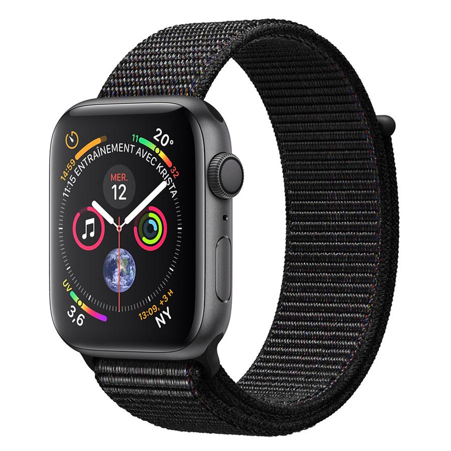 Montre connectée Apple Watch Series 4 GPS Aluminium Gris Sidéral Boucle Sport Noir 44 mm Montre connectée - Aluminium - Étanche 50 m - GPS/GLONASS - Cardiofréquencemètre - Écran Retina OLED 448 x 368 pixels - Wi-Fi/Bluetooth 5.0 - watchOS 5 - Bracelet Sport 44 mm