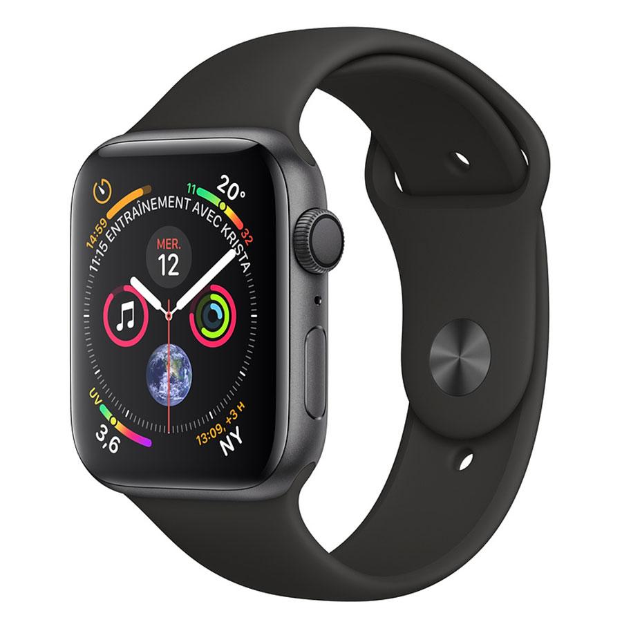 Montre connectée Apple Watch Series 4 GPS Aluminium Gris Sidéral Sport Noir 44 mm Montre connectée - Aluminium - Étanche 50 m - GPS/GLONASS - Cardiofréquencemètre - Écran Retina OLED 448 x 368 pixels - Wi-Fi/Bluetooth 5.0 - watchOS 5 - Bracelet Sport 44 mm