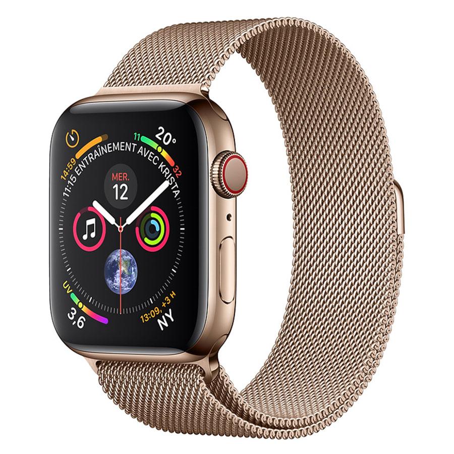 Montre connectée Apple Watch Series 4 GPS + Cellular Acier Or Milanais Or 40 mm Montre connectée - Acier inoxydable - Étanche 50 m - GPS/GLONASS - Cardiofréquencemètre - Écran Retina OLED 394 x 324 pixels - Wi-Fi/Bluetooth 5.0 - watchOS 5 - Bracelet Milanais Or 40 mm
