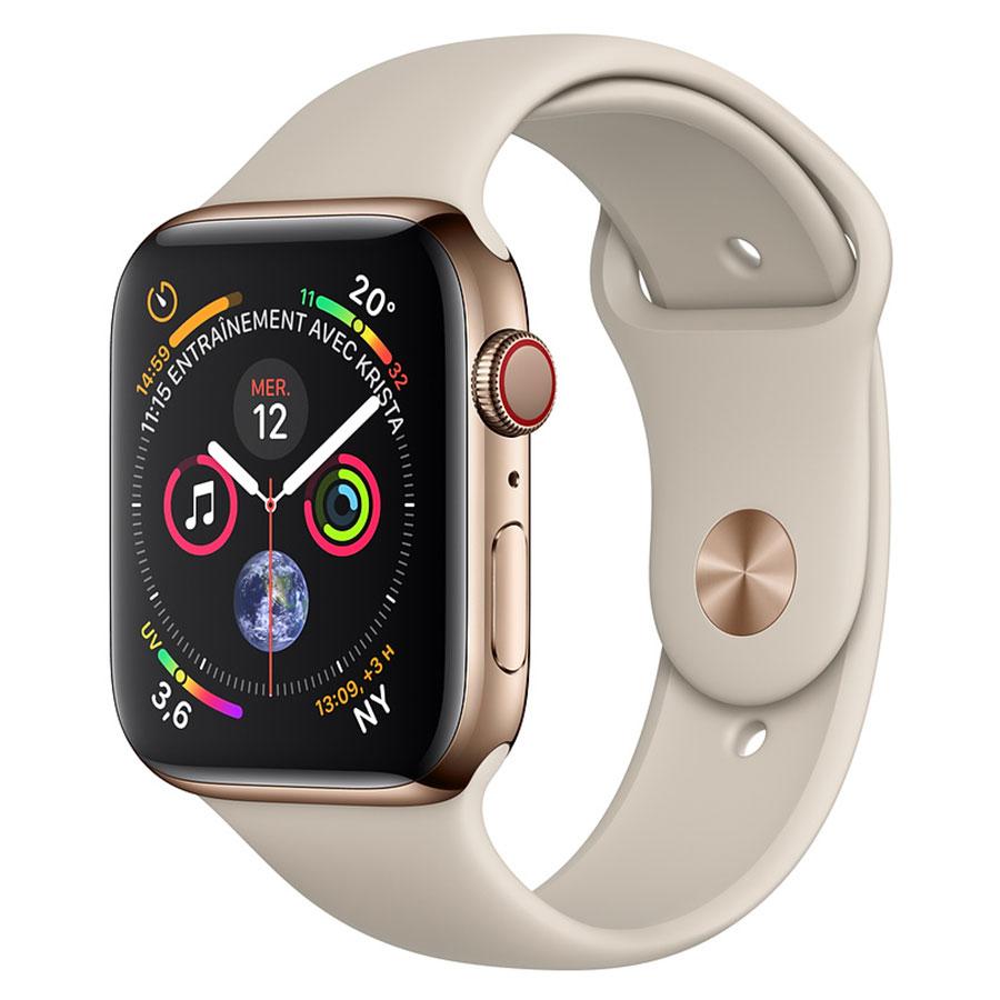 Montre connectée Apple Watch Series 4 GPS + Cellular Acier Or Sport Gris Sable 44 mm Montre connectée - Acier inoxydable - Étanche 50 m - GPS/GLONASS - Cardiofréquencemètre - Écran Retina OLED 448 x 368 pixels - Wi-Fi/Bluetooth 5.0 - watchOS 5 - Bracelet Sport gris sable 44 mm