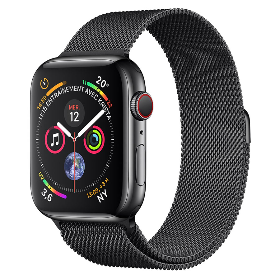 Montre connectée Apple Watch Series 4 GPS + Cellular Acier Noir Milanais Noir 44 mm Montre connectée - Acier inoxydable - Étanche 50 m - GPS/GLONASS - Cardiofréquencemètre - Écran Retina OLED 448 x 368 pixels - Wi-Fi/Bluetooth 5.0 - watchOS 5 - Bracelet Milanais noir sidéral 44 mm