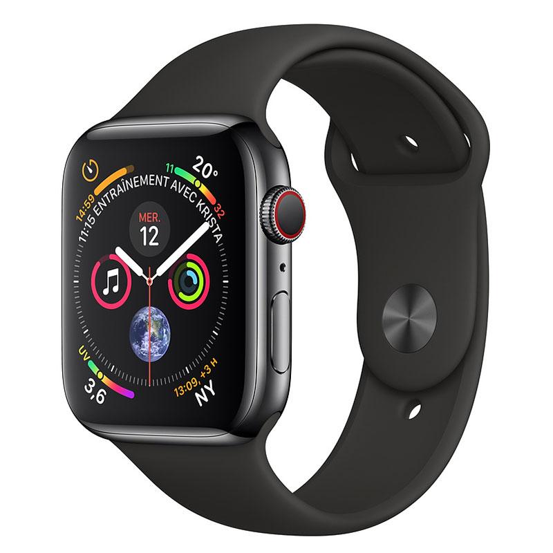 Montre connectée Apple Watch Series 4 GPS + Cellular Acier Noir Sport Noir 44 mm Montre connectée - Acier inoxydable - Étanche 50 m - GPS/GLONASS - Cardiofréquencemètre - Écran Retina OLED 448 x 368 pixels - Wi-Fi/Bluetooth 5.0 - watchOS 5 - Bracelet Sport noir 44 mm