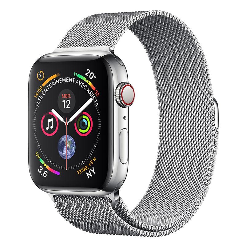 Montre connectée Apple Watch Series 4 GPS + Cellular Acier Argent Milanais 40 mm Montre connectée - Acier inoxydable - Étanche 50 m - GPS/GLONASS - Cardiofréquencemètre - Écran Retina OLED 394 x 324 pixels - Wi-Fi/Bluetooth 5.0 - watchOS 5 - Bracelet Milanais Argent 40 mm