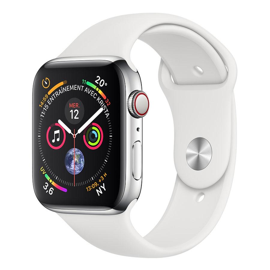 Montre connectée Apple Watch Series 4 GPS + Cellular Acier Sport Blanc 44 mm Montre connectée - Acier inoxydable - Étanche 50 m - GPS/GLONASS - Cardiofréquencemètre - Écran Retina OLED 448 x 368 pixels - Wi-Fi/Bluetooth 5.0 - watchOS 5 - Bracelet Sport Blanc 44 mm