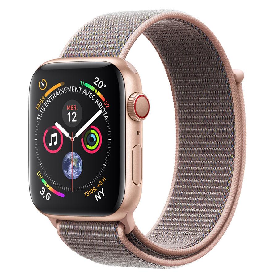 Montre connectée Apple Watch Series 4 GPS + Cellular Aluminium Or Boucle Sport Rose 44 mm Montre connectée - Aluminium - Étanche 50 m - GPS/GLONASS - Cardiofréquencemètre - Écran Retina OLED 448 x 368 pixels - Wi-Fi/Bluetooth 5.0 - watchOS 5 - Bracelet Boucle Sport Rose 44 mm