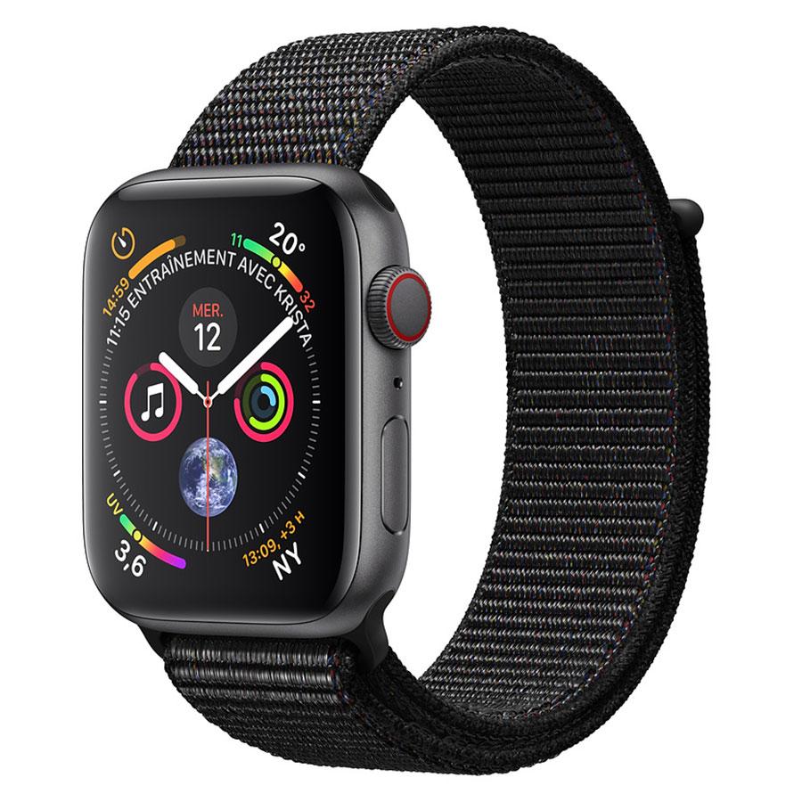 Montre connectée Apple Watch Series 4 GPS + Cellular Aluminium Gris Boucle Sport Noir 44 mm Montre connectée - Aluminium - Étanche 50 m - GPS/GLONASS - Cardiofréquencemètre - Écran Retina OLED 448 x 368 pixels - Wi-Fi/Bluetooth 5.0 - watchOS 5 - Bracelet Boucle Sport Noir 44 mm