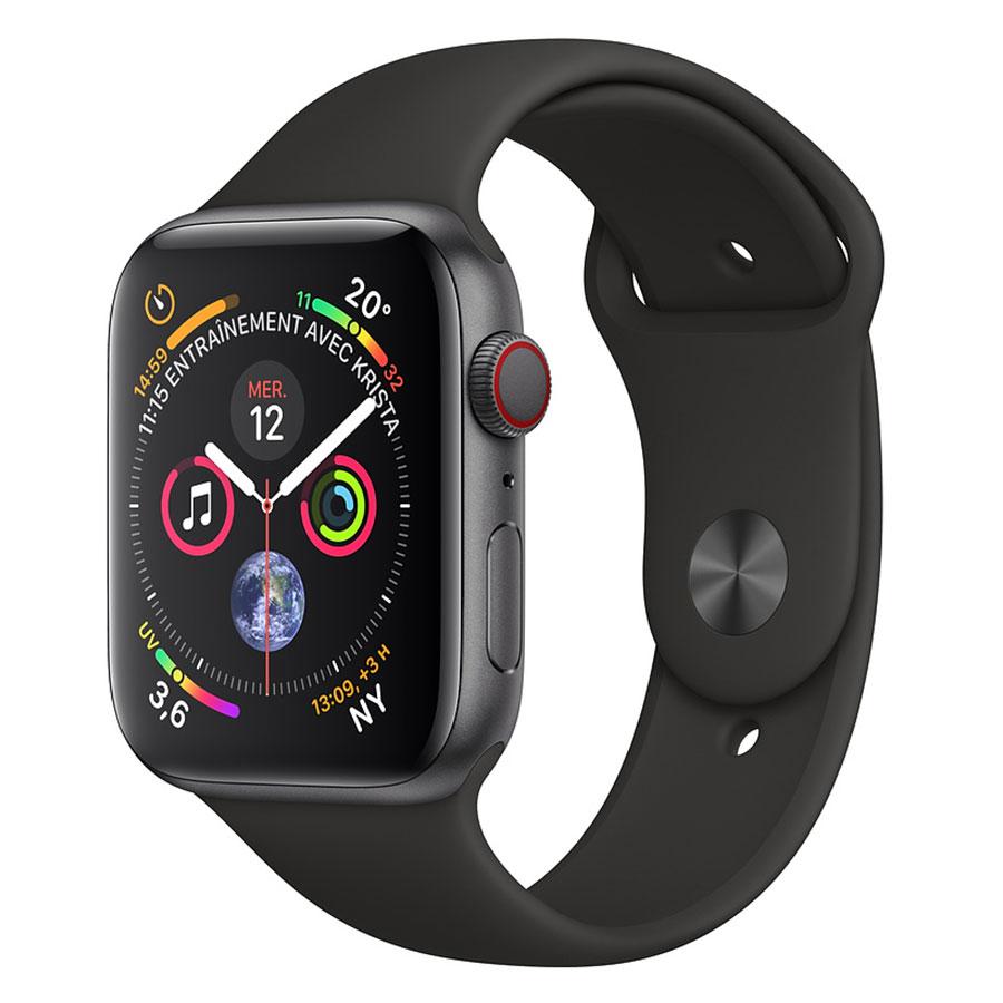 Montre connectée Apple Watch Series 4 GPS + Cellular Aluminium Gris Sport Noir 40 mm Montre connectée - Aluminium - Étanche 50 m - GPS/GLONASS - Cardiofréquencemètre - Écran Retina OLED 394 x 324 pixels - Wi-Fi/Bluetooth 5.0 - watchOS 5 - Bracelet Sport Noir 40 mm