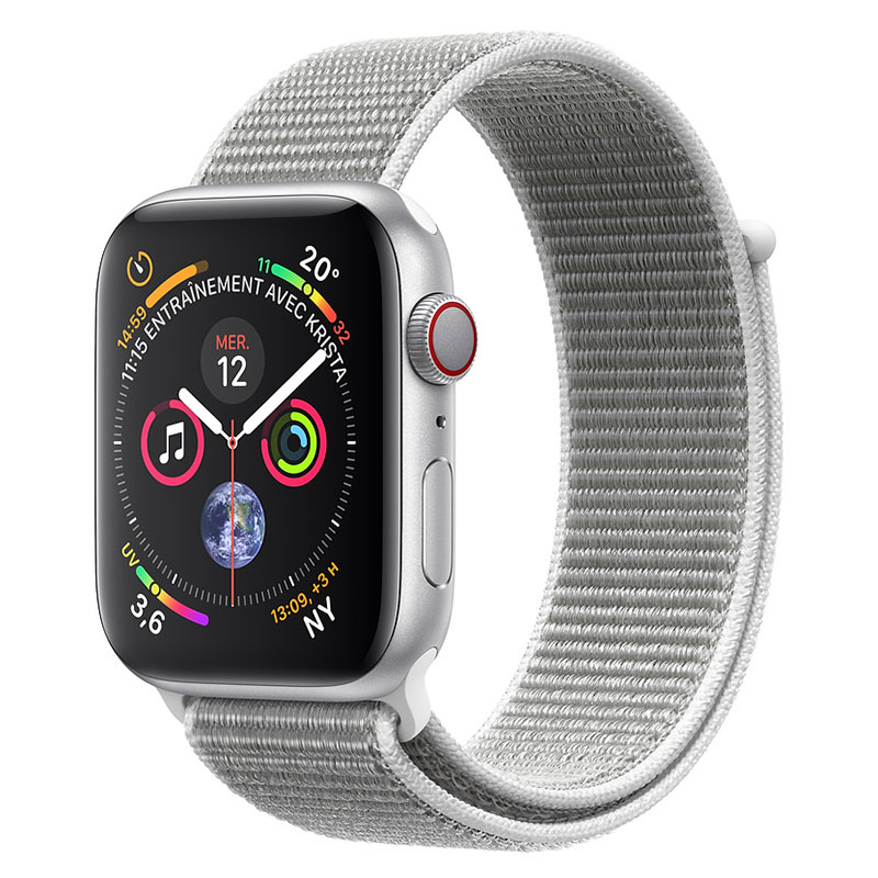 Montre connectée Apple Watch Series 4 GPS + Cellular Aluminium Argent Boucle Sport Coquillage 44 mm Montre connectée - Aluminium - Étanche 50 m - GPS/GLONASS - Cardiofréquencemètre - Écran Retina OLED 448 x 368 pixels - Wi-Fi/Bluetooth 5.0 - watchOS 5 - Bracelet Boucle Sport coquillage 44 mm