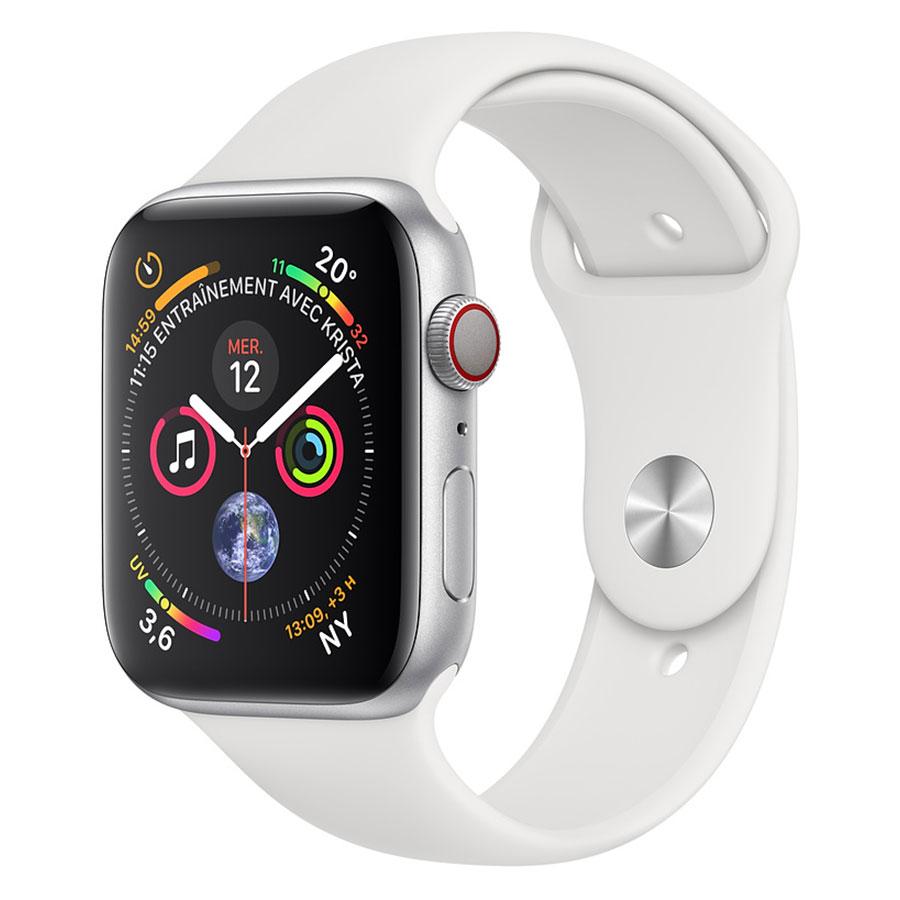 Montre connectée Apple Watch Series 4 GPS + Cellular Aluminium Argent Sport Blanc 44 mm Montre connectée - Aluminium - Étanche 50 m - GPS/GLONASS - Cardiofréquencemètre - Écran Retina OLED 448 x 368 pixels - Wi-Fi/Bluetooth 5.0 - watchOS 5 - Bracelet Sport Blanc 44 mm