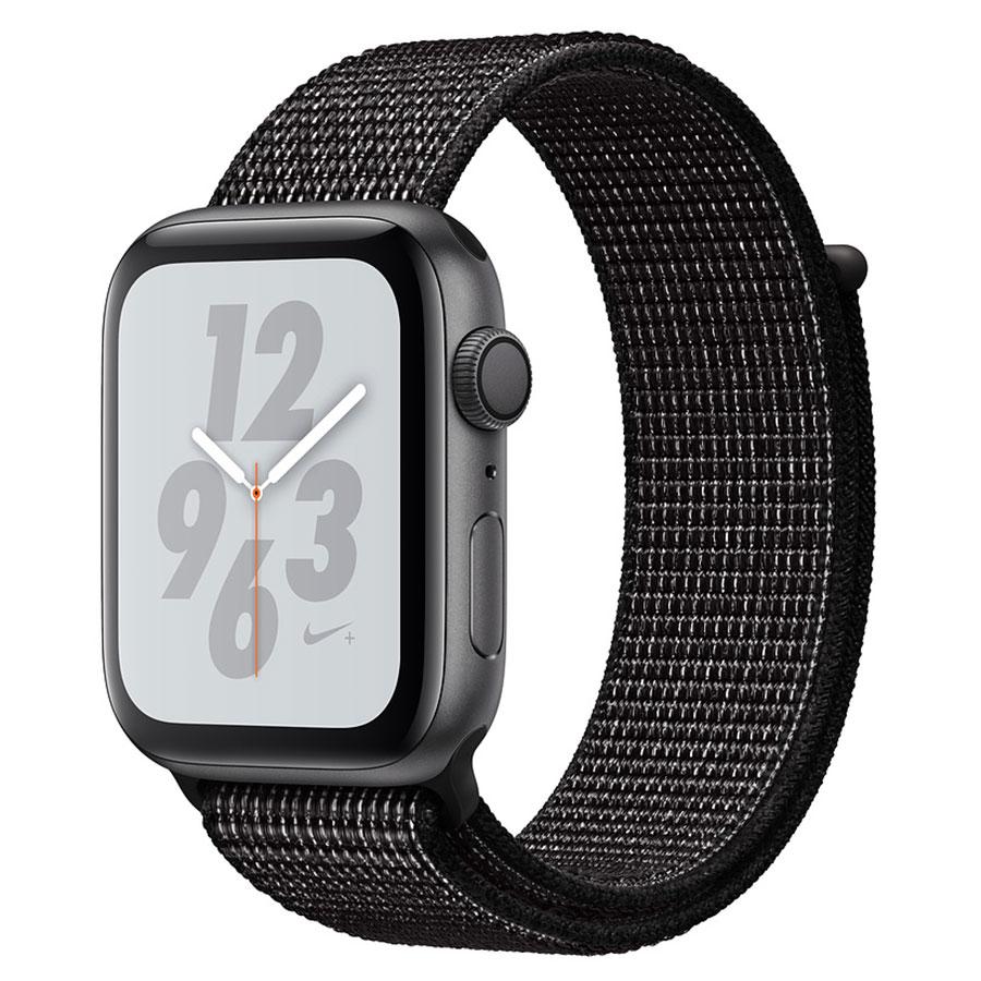 Montre connectée Apple Watch Nike+ Series 4 GPS Aluminium Gris Boucle Sport Noir 44 mm Montre connectée - Aluminium - Étanche 50 m - GPS/GLONASS - Cardiofréquencemètre - Écran Retina OLED 448 x 368 pixels - Wi-Fi/Bluetooth 5.0 - watchOS 5 - Bracelet Boucle Sport Nike 44 mm